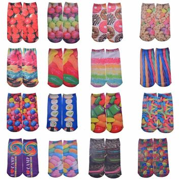 Colorful Sweets Candy Ankle Length Socks Funny Crazy Cool Novelty Cute Fun Funky Colorful