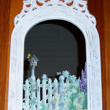 Ornate welcome to my garden wood mirror  by MoanasUniqueDesigns
