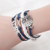 Fashion Jewelry high quality Handmade Women Barcelet Owl decorations Charms White and blue Braided  Love Bracelets