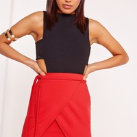 Missguided - Tie Side Asymmetric Mini Skirt Red