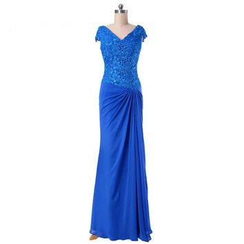 Elegant Chiffon Appliques V Neck Cap Sleeve Long Evening Dresses Mermaid Floor Length Formal Evening Dress