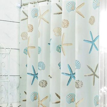 2016 Bathroom Shell Starfish Waterproof Proof Shower Curtain With 12pcs Curtain Hooks Rings 180cm*180 200cm