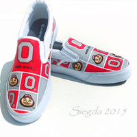 OSU-Mens slipon canvas shoes-Ohio State University-Brutus-Buckeye-football-gifts for him-boyfriend-sports-back to school-custom shoes