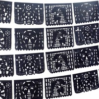 Muertos papel picado, Halloween decorations, day of dead banner,  5 Pack Banners 75 Feet Long!