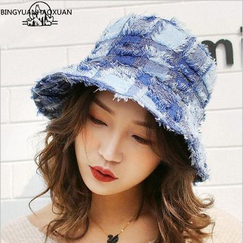 2018 New Women Bucket Hat Patchwork Wide Brim Sun Hat For Female Spring Summer Fisherman Hat Outdoor Sunscreen Chapeau Femme