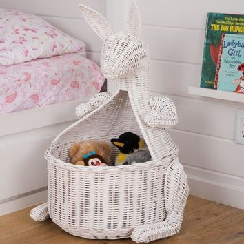 Kangaroo Wicker Laundry Basket Nursery Toys Home White