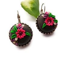 Rich Tribal Daisy Earrings - Swarovski Crystal neon pink - Gift for her - Boho traditional under 25
