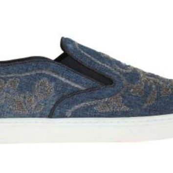 Dolce & Gabbana Blue Denim Floral Embroidery Sneakers