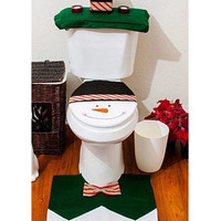 White Snowman Pattern Toilet Seat Cover And Rug Set