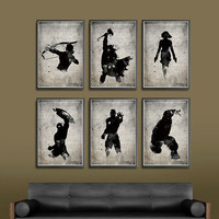 The Avengers Superheroes Iron Man, Hawkeye, Black Widow, Thor, Hulk and Captain America Superheroes A3 Movie Poster Set