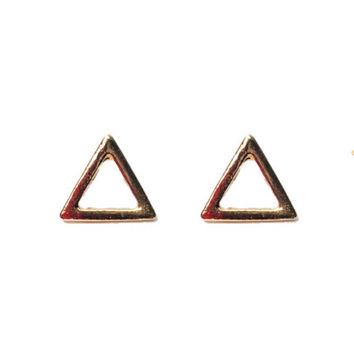 """Dainty Doll Collection """"Geometric Gal"""" Gold Cut Out Minimalist Triangle Earrings"""