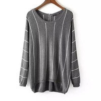 Grey Stripe Loose Crochet Knit Shirt Sweater
