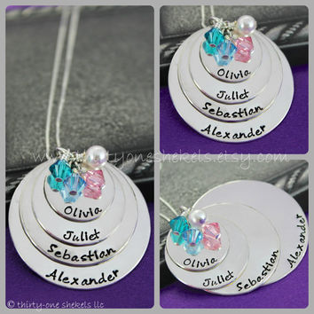 """Four Layer Hand-stamped Names and Birthstones Necklace in Sterling Silver 3/4"""", 1"""", 1 1/4"""" and 1 1/2""""  - great for moms or grandmas"""
