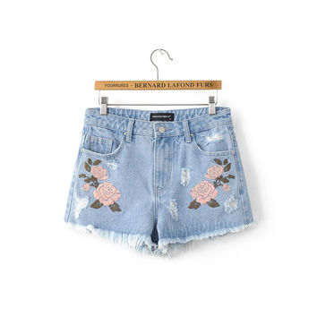Summer Embroidery Floral Rinsed Denim High Waist Denim Shorts [6332310276]