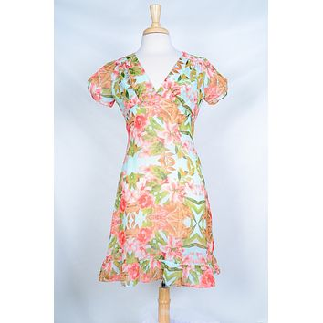 Betty Dress in Pink Lily and Mint Floral - Limited Edition