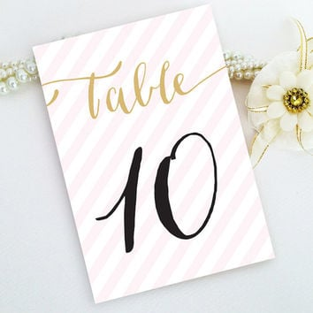 Calligraphy table numbers (size 4x6) - Blush pink and gold striped table numbers printed on luxury cream or white pearlescent paper