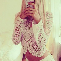 Renaissance Lace Crop Top - White