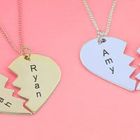 Heart Name Necklace, His and Her Necklaces, Silver Love Necklace, Gold Heart Necklace, Necklace for Women, Gift idea for Men, Mizpah Pendant
