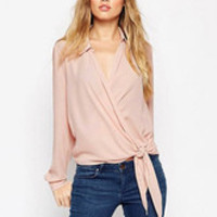 Light Ruched Knotted Acetate Longsleeve Blouse for Women