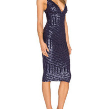 Navy Spaghetti Strap Backless Sequined Dress