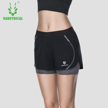 Women Sports Shorts Running Yoga Fitness Workout Gym Double Layer Stretch Breathable Bottoms Vansydical