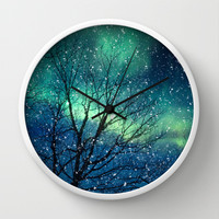 Aurora Borealis Northern Lights Wall Clock by Bomobob
