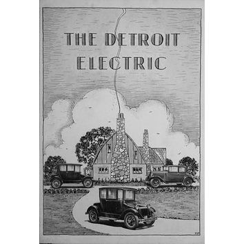 Detroit Electric poster Metal Sign Wall Art 8in x 12in Black and White