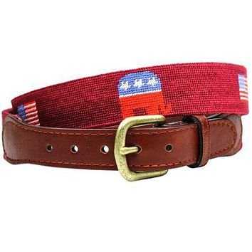 Republican Elephant and American Flag Needlepoint Belt in Garnet by Smathers & Branson
