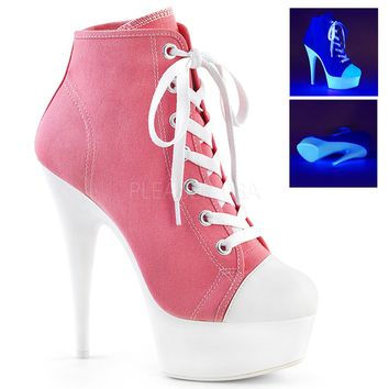 Pink Platform High Top Canvas Sneakers 6 Inch Heels- Stripper Shoes