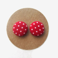 Red White Dot Earrings // Polka Dot Earrings // Classic Red Earrings // Trendy Earrings // Fall Earrings // Red and White Earrings // Red //