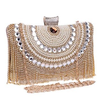 HOT Beaded women evening bags tassel rhinestones clutches evening bag diamonds purse evening bag black/silver/gold bags