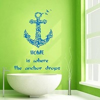 Wall Decor Vinyl Decal Sticker Quote Home Is Where the Anchor Drops Sea Gulls Kg527