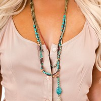 Simple Times Suede Beaded Necklace (Turquoise)
