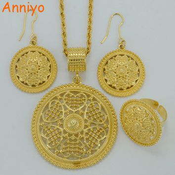 Anniyo New Arrivals Necklace Earrings Ring Africa sets Ethiopian Jewelry Gold Color Eritrea Habesha Wedding Gifts Arab #055606