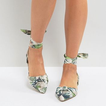 New Look Palm Print Lace Up Pointed Flat Shoes at asos.com