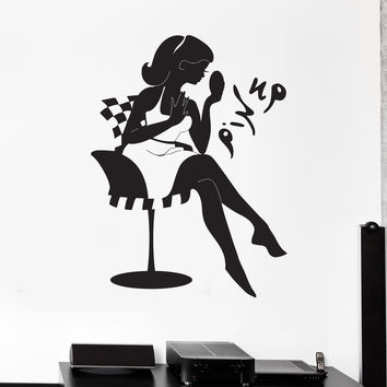 Vinyl Wall Decal Pin Up Girl Woman Beauty Salon Stickers Mural Unique Gift (ig4447)