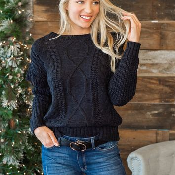 Cute With Cocoa Cable Knit Sweater : Black