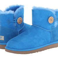 UGG Mini Bailey Button Brilliant Blue Twinface - Zappos.com Free Shipping BOTH Ways