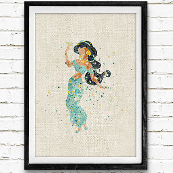 Disney Princess Jasmine, Aladdin Watercolor Print, Baby Girl Nursery Room Art, Minimalist Home Decor, Not Framed, Buy 2 Get 1 Free