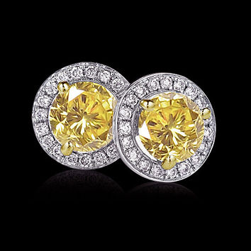 12 carats stud earrings yellow canary diamond studs new