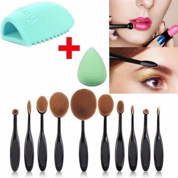 10Pcs Professional Makeup Brushes Set Oval Cream Puff Toothbrush Brush Black NEW 800007765175