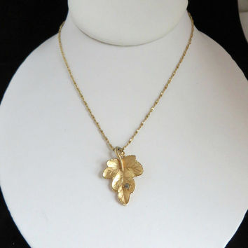 Monet Leaf Pendant, Vintage Gold Tone Necklace, Signed Monet Jewelry Gift Idea
