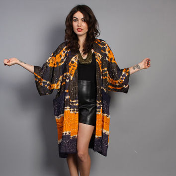 70s KIMONO JACKET / Fall Weight Tie-Dye Cotton DUSTER