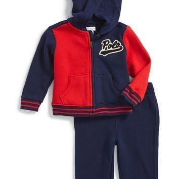 Infant Boy's Ralph Lauren Full Zip Hoodie & Sweatpants