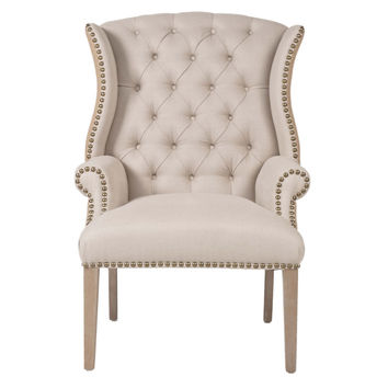 Shubert Tufted Armchair, Oatmeal, Arm Chairs
