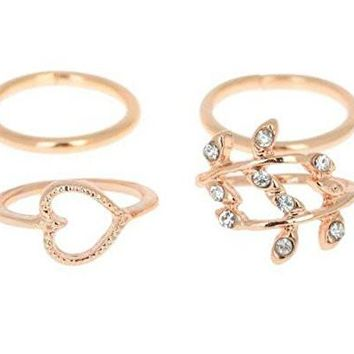 Gold Plated Leaf, Heart Knuckle Ring - 4pcs Set