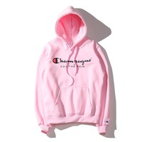 Pink Unisex Lovers' Champion Printed Long Sleeve Hoodies Sweater Pullovers