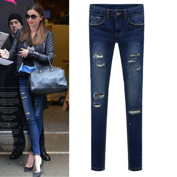 Denim Frayed Skinny Pencil Pants
