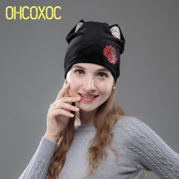 OHCOXOC New Design Women Beanies Skullies Girl Cute Autumn Winter Hat Cap With Cat Ears Red Flower Shiny Rhinestone Cap