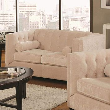 Transitional Wood & Chenille Loveseat With Lumbar Pillows, Almond